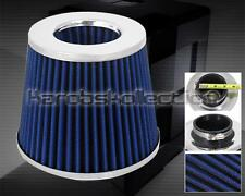 """BLUE SILVER 3"""" CONE STYLE RACING INTAKE FILTER COLD AIR SHORT RAM TURBO"""