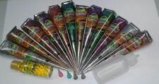 12 Multi color Glitter Cone+ Applicator Temporary Tattoo  Body Art Ink Hina Kit