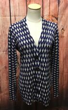 Tory Burch Blue Gray Geo Print Button Front V Neck L/S Cardigan Sweater Size L