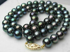 stunning AAA10-11MM TAHITIAN PEACOCK GREEN PEARL NECKLACE 19INCH 14K