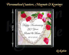Pearl Wedding 30th Anniversary Personalised Drinks Coaster Gift