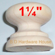 """1 ¼"""" -  British Style Wood Cabinet Knob Pulls / Drawer Knobs with Screw"""