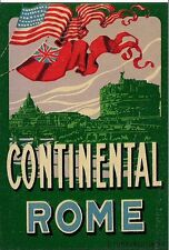 Vintage Art Deco 1920's Hotel Luggage Sticker Tag Continental Rome Italy