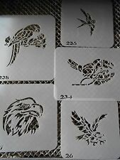 Airbrush Temporary Tattoo Stencil Set 4 Parrots New by Island Tribal!