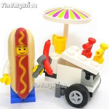 R9 Lego Cook Chef Vendor Minifigure in Hot Dog Guy Suit with Hot Dog Stand NEW