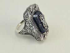 Antique Art Deco Lapis Diamond Ring Sterling Silver New Elegant Size 7
