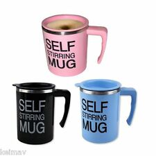 Self Stirring Coffee Mug Gift Set of 3 (Black/Pink/Blue)