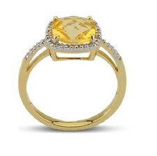14K YELLOW GOLD PAVE DIAMOND CITRINE CUSHION CUT HALO ENGAGEMENT HALO RING