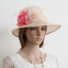 New Sinamay Woman Church Kentucky Derby Wedding Party  Dress Hat 270 Lt.peach