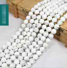 "Free ship Natural White Turquoise Gemstone Round Beads 15"" 6mm"