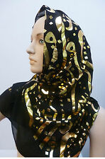 New Arabic Arab Calligraphy Hijab Scarf Shawl Wrap Pashmina Ladies Islam Muslim