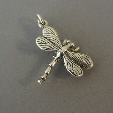 .925 Sterling Silver Large 3-D DRAGONFLY CHARM Insect Pendant NEW 925 BF11