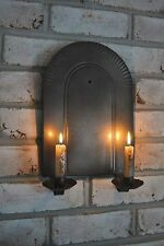 Primitive Antique Vintage Black Metal NORTHWOODS Double Candle Sconce