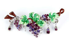 PURPLE GENUINE AUSTRIAN CRYSTALS GRAPE VINE PIN BROOCH