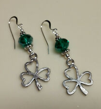 Irish Pewter Shamrock earrings with green crystals Celtic