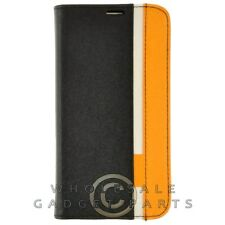 Samsung Galaxy S5 Wallet Pouch Two Tone Luxury Black/Yellow Cover Shell Protect