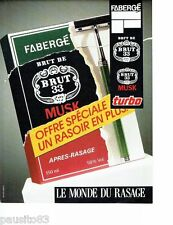 PUBLICITE ADVERTISING 116  1988  Fabergé lotion  après rasage Brut & Musk