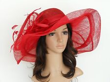 New Church Kentucky Derby Wedding Sinamay Wide Brim Dress Hat cc2963 Red