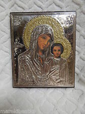 VTG ITALIAN 925 STERLING SILVER MARY  AND BABY JESUS ORTHODOX  ICON