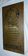 Antique Aetna Insurance Sign Large Brass Hall Plaque, Flywheel, Health, Accident