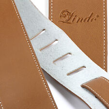 Lindo Brown Faux Leather Guitar Strap for Acoustic / Electric / Bass Guitar