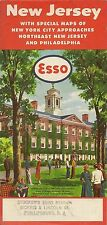 1955 ESSO STANDARD OIL Rutgers University Road Map NEW JERSEY Phillipsburg Dover