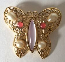 Lovely! TRIFARI Signed Goldtone Faux Pearl Peach & Pink Lucite Butterfly Brooch