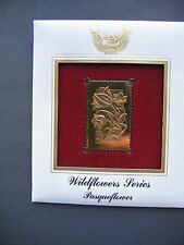 1992 Wildflower Series Pasqueflower Flower 22kt Gold GOLDEN Cover Replica STAMP