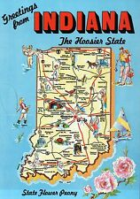 """Greetings from Indiana, """" The Hoosier State """", Indianapolis - State Map Postcard"""