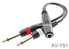 "9-inch 1/4"" Stereo Female to Dual 1/4"" Mono Male (Left/Right) Y-Cable, AV-Y51"