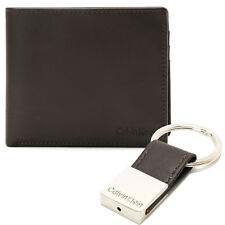 New Calvin Klein Men's Brown Leather Billfold Credit Card Coin Pocket Wallet