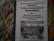 2002-03 WILLIAMS COLLEGE EPHS BASKETBALL MEDIA GUIDE for 2003 DIII FINAL 4 AD