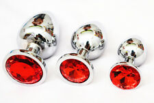 3x Butt Toy Plug Insert Anal Stainless Steel Crysrtal Jewelry Sexy Stopper Red