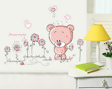 Pink Teddy Bear Wall Stickers Art Decor Cartoon Mural Baby Nursery Kid Room