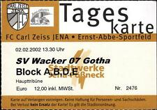 TICKET OL 2001/2002 FC Carl Zeiss Jena-SV Wacker 07 gothabillys, 02.02.2002