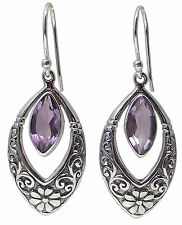 Pair of AMETHYST EARRINGS 925 Sterling SILVER 43mm Drop Marquise Gemstone