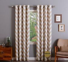 """Chevron Taupe Thermal 100% sun Blackout Grommet Curtain Panel - 52"""" WideX84""""Long"""