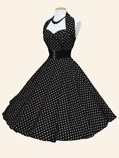Nuove 50s Vivien di Holloway Stile Vintage Nero a Pois Rockabilly Dress RRP £ 89