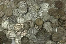 100 Mercury Silver Dimes = $10 Face = 2 Full Rolls ~ 90% Silver! Free Shipping !