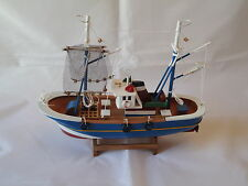 Wooden Model Fishing Boat Trawler With Nets On Stand Hand Made -maritime Ship