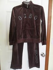 BCBG Maxazria Girl's Size 16 Brown Velour Jogging Track Suit Rhinestones