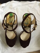 BRAND NEW Michael Kors London Brown Suede Open Toe Heeled Sandal. UK Size 6 1/2