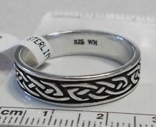 size 10.75 Sterling Silver 7g 6mm Wide Celtic Knot Band Men's Wedding Style Ring
