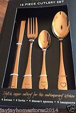 Heart Shape Copper Cutlery 16 Piece Knife Fork Teaspoon Spoon Set