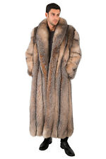 "Mens Crystal Fox Fur Coat Long Full Length Overcoat 55"" - Large"