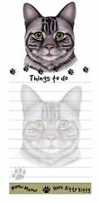 TABBY SILVER CAT DIECUT LIST PAD NOTES NOTEPAD Magnetic Magnet Refrigerator