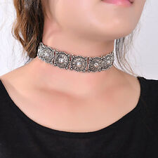 Boho Ethnic Statement Collar Necklace Carved Metal Choker Gold Silver Jewelry