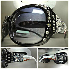 WESTERN Bling COWGIRL PATRIOTIC SUNGLASSES Black Frame Rhinestone Crystal Star