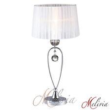 Tischlampe Tischleuchte Stoff Kristall Weiss Chrom 1x40W Lampe Leuchte Tisch