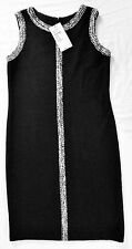 NEW WITH TAGS $795 ST. JOHN KNIT DRESS BLACK with WHITE TRIM SIZE 12 ~ STUNNING!